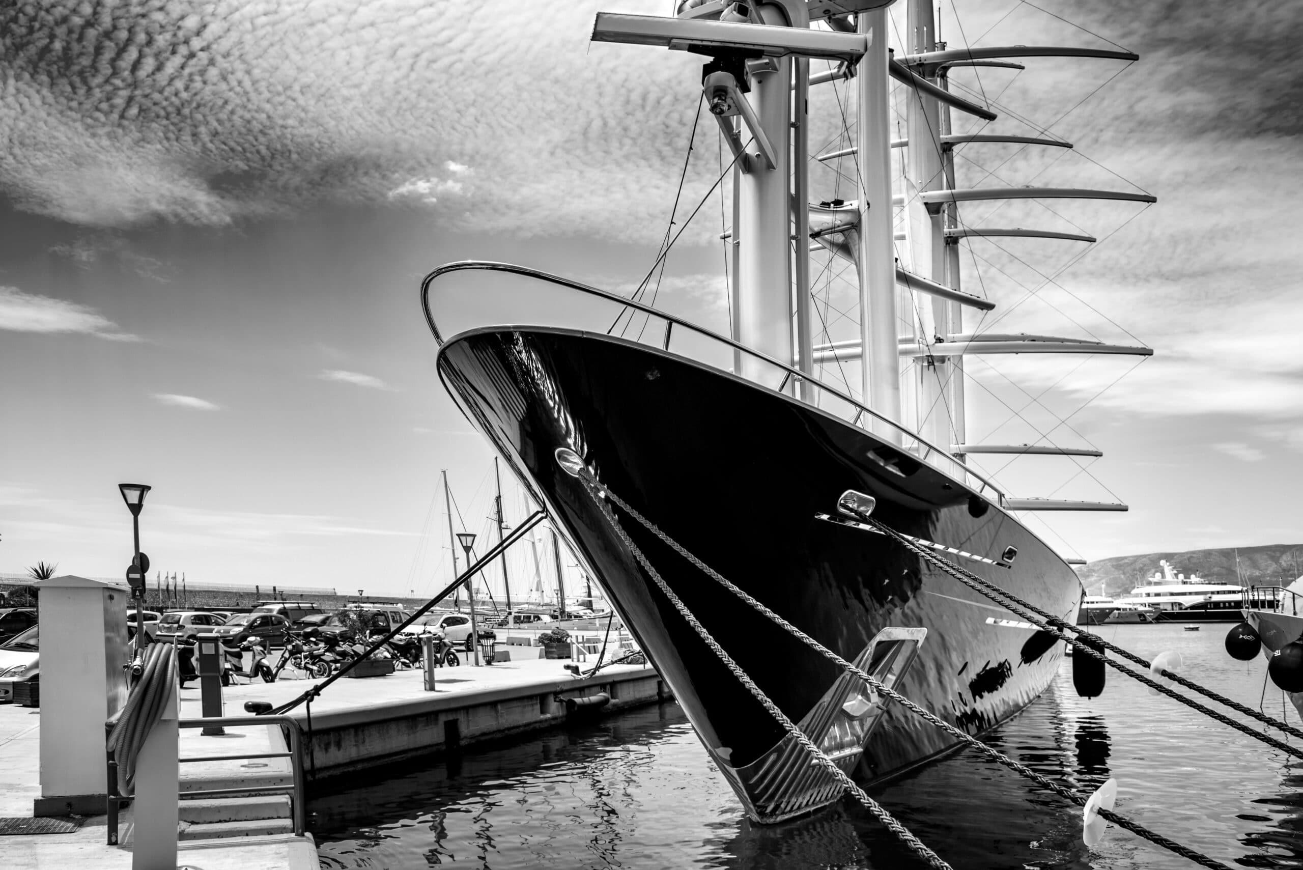 Luxury motor sail boat at marina Seas, Piraeus, Greece